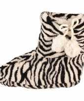Zwart witte zebra print meisjes sloffen